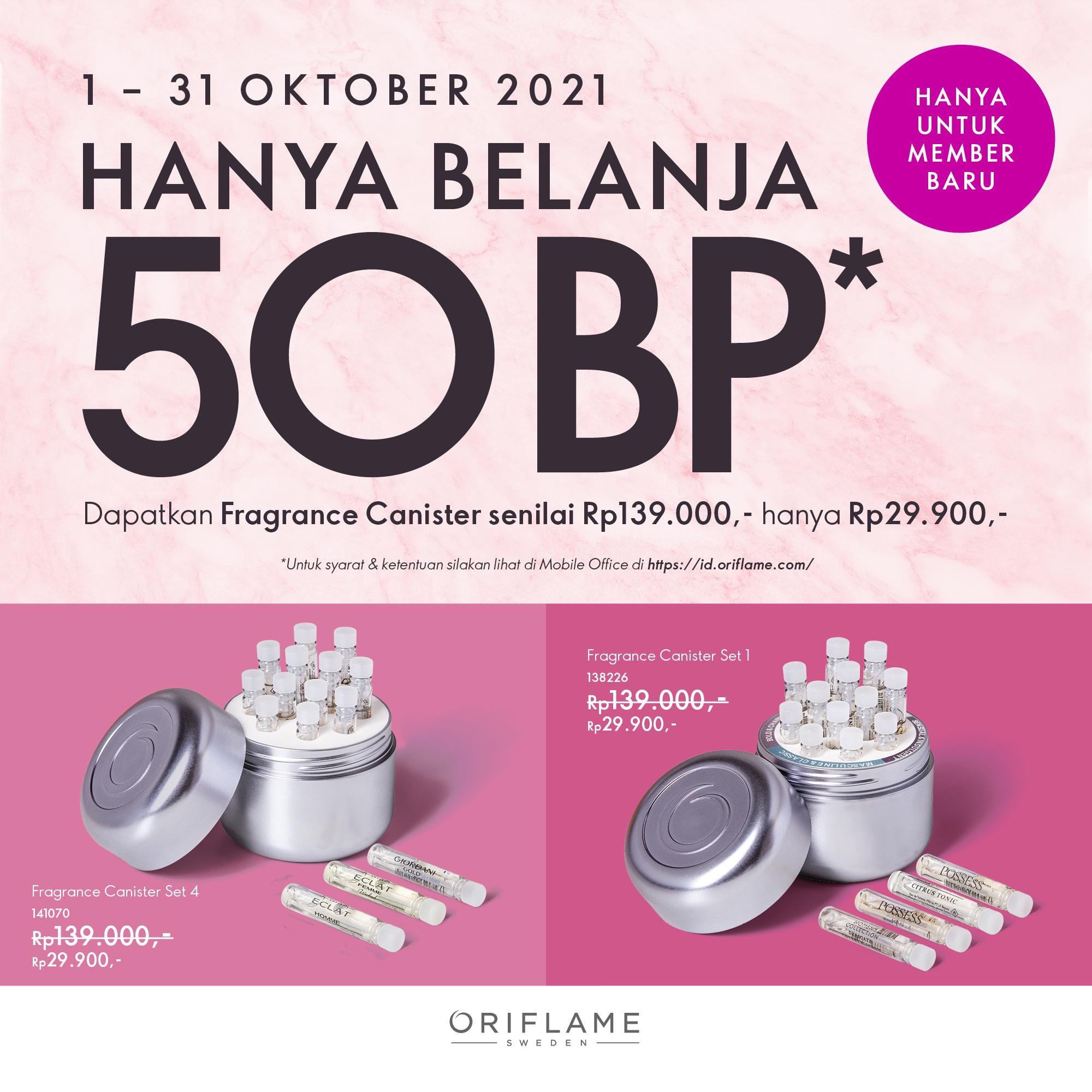 Fragrance Canister sampel parfum Oriflame