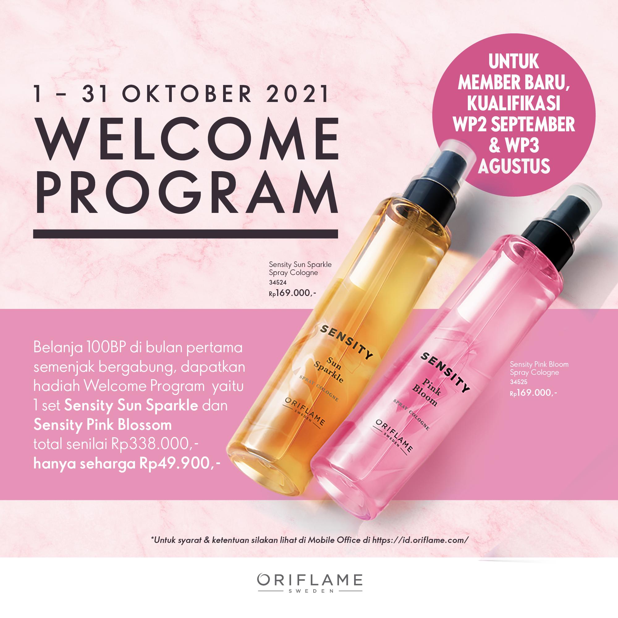 Hadiah tebus murah Welcome Program 1 Oriflame Oktober 2021